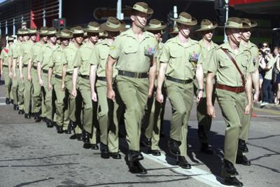 Australian Soldiers March in an Anzac Day Parade