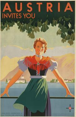 Austria Invites You! 1934 Travel Poster Shows Young Woman in Front of Village and Mountains