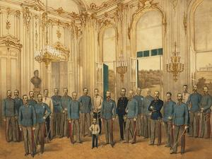 Austria, Vienna, Emperor Franz Joseph I of Austria with Staff at Schonbrunn Palace