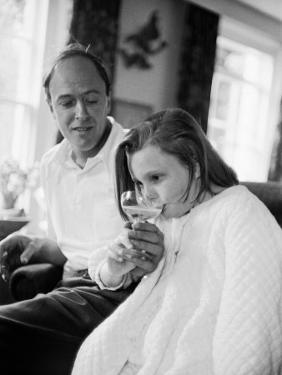 Author Roald Dahl and Daughter at Home
