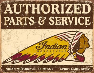 Authorized Indian Parts and Service Tin Sign
