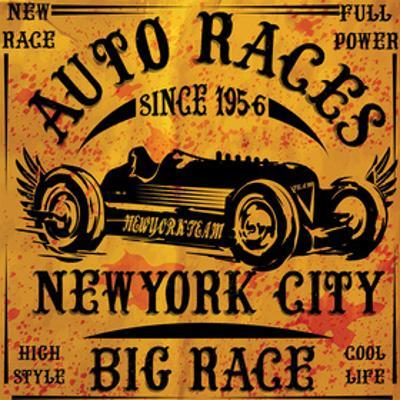 Auto Races New York City Sign