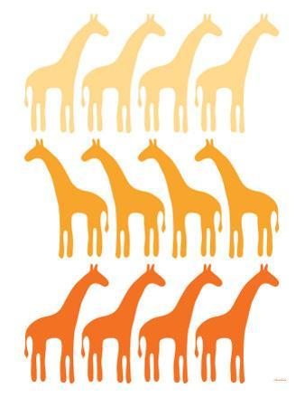 Orange Giraffe Family by Avalisa