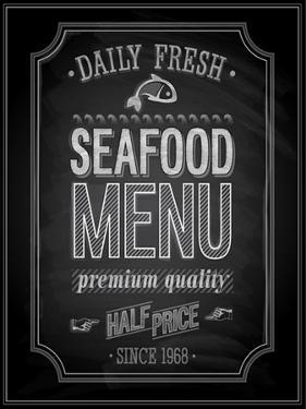 Seafood Poster Chalkboard by avean