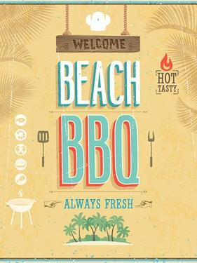 Vintage Beach Bbq Poster by avean