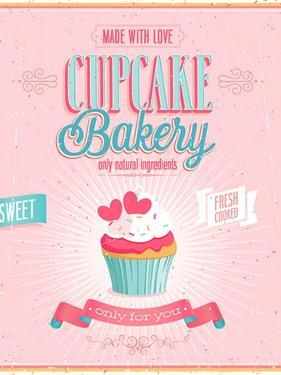 Vintage Cupcake Poster by avean