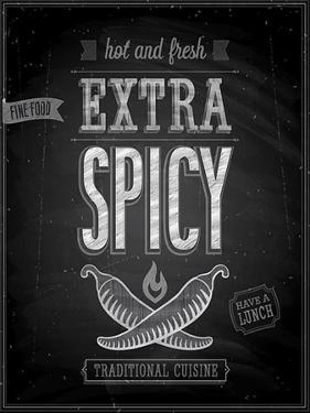 Vintage Extra Spicy Poster - Chalkboard by avean