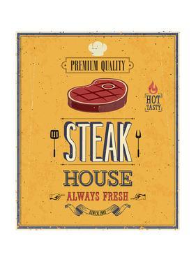 Vintage Steak House Poster by avean