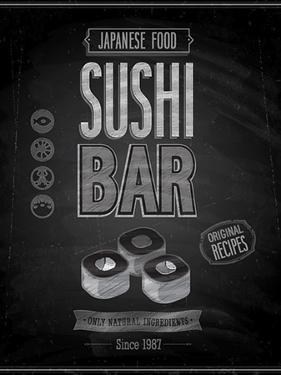 Vintage Sushi Bar Poster - Chalkboard by avean