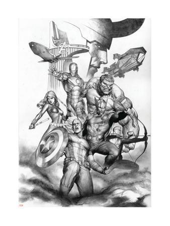 Avengers Assemble Artwork with Thor, Hulk, Iron Man, Captain America, Hawkeye, Black Widow, Loki
