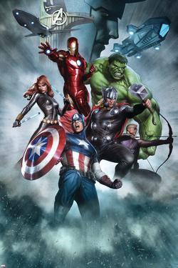 Avengers Assemble Artwork with Thor, Hulk, Iron Man, Captain America, Hawkeye, Black Widow, Loki