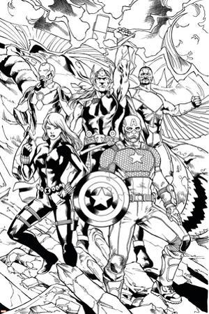 Avengers Assemble Inks Featuring Captain America, Black Widow, Thor, Iron Man, Falcon