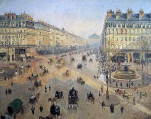 Avenue De L'opera : Sunshine, Winter Morning in Paris, 1898 - by Camille Pissarro