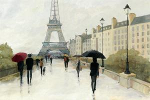 Eiffel in the Rain Marsala Umbrella by Avery Tillmon