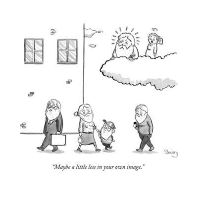 An angel says to God, as they sit in a cloud, and look down upon men, wome... - New Yorker Cartoon