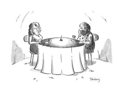 Cavemen on a date with a little fire in the middle of the table. - New Yorker Cartoon