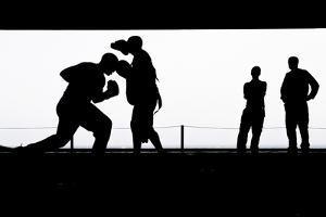Aviation Boatswain's Mates Practice Boxing in the Hangar Bay