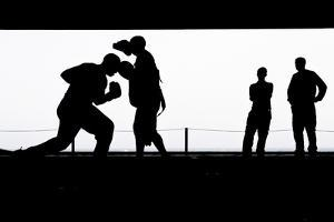 Aviation Boatswain's Mates Practice Boxing in the Hangar Bay