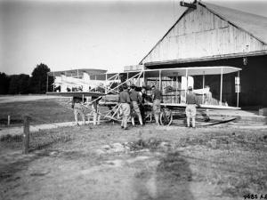 Aviation Pioneer Orville Wright Taking Off for 2nd Army Test in Wright Flyer