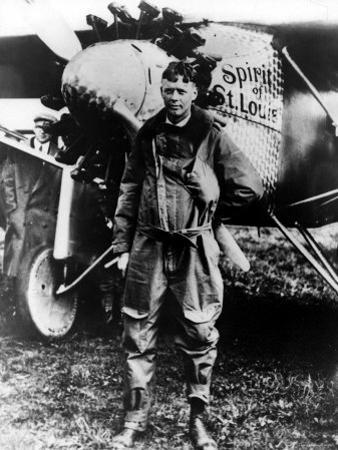 "Aviator Charles Lindbergh Posing in Front of His Plane ""The Spirit of St. Louis."""