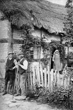 Two Men Chatting Outside a Cottage, Near Lucton, Herefordshire, C1922 by AW Cutler