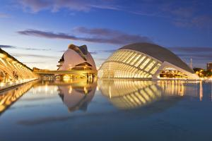 Beautiful Architecture Of The 'City Of Arts And Science' In Valencia, Spain During The Blue Hour by Axel Brunst
