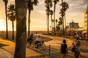 View Of Venice Beach And Boardwalk During Sunset by Axel Brunst