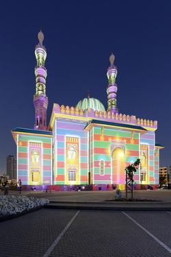 Al Majaz Mosque, Illuminated, Sharjah Light Festival, Al Majaz Park, Corniche Street by Axel Schmies