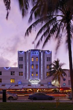 Beacon Hotel, Facade, Ocean Drive at Dusk, Miami South Beach, Art Deco District, Florida, Usa by Axel Schmies