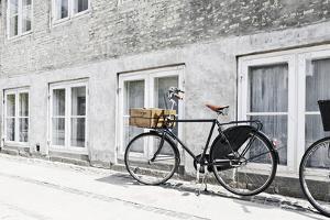 Bicycle Leaning Against Wall, City, Copenhagen, Denmark, Scandinavia by Axel Schmies