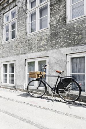 Bicycle Leans Against Wall, City, Copenhagen, Denmark, Scandinavia
