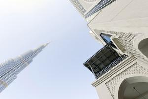 Burj Khalifa and Souk Al Bahar, Downtown Dubai, Dubai, United Arab Emirates, the Middle East by Axel Schmies