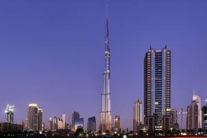 Burj Khalifa, the Highest Tower of the World in the Evening Light, Night Photography by Axel Schmies