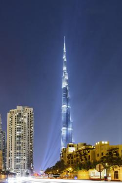 Burj Khalifa, the Highest Tower of the World, Night Photograph by Axel Schmies