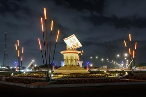 Colourful Illumination, Projection, Sharjah Light Festival, Koran Monument, Cultural Square by Axel Schmies