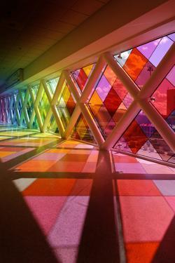 Colourful Windows in the Transit Area of Miami Airport, Miami, Florida, Usa by Axel Schmies
