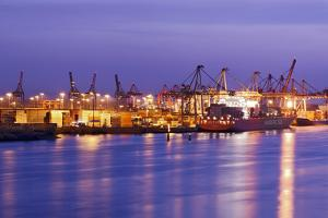 Container Terminal with Container Ship Hamburg-SŸd, Loading, Waltershof Harbour, Dusk, Altona by Axel Schmies