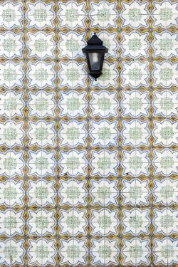 Floral Tile Pattern at Wall of a House, Sintra, Lisbon, Portugal by Axel Schmies