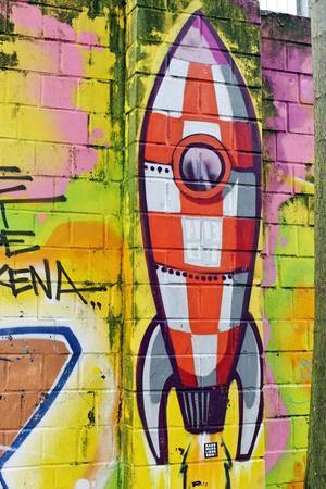 Graffiti, Coloured Rocket, Ottensen, Hanseatic City Hamburg, Germany