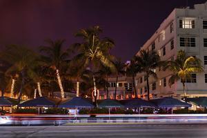Hotel 'Clevelander' at Night, Ocean Drive, Miami South Beach, Art Deco District, Florida, Usa by Axel Schmies