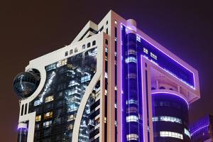 Illuminated Office Building, Corniche Street, Emirate of Sharjah by Axel Schmies