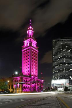 Mdc Freedom Tower at Night, Illumination in Pink, Biscayne Boulevard, Miami Downtown, Miami by Axel Schmies