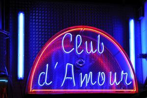 Neon Advertisement 'Club D'Amour', Erotic Club, Red-Light District, Reeperbahn, Hamburg, Germany by Axel Schmies