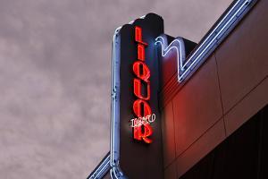 Neon Sign 'Liquor', Collins Avenue, Miami South Beach, Art Deco District, Florida, Usa by Axel Schmies
