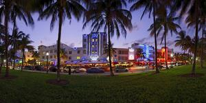Panorama of the Art Deco Hotels at Ocean Drive, Dusk, Miami South Beach, Art Deco District, Florida by Axel Schmies