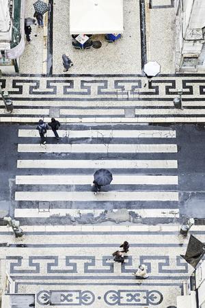 People with Umbrellas, Vertical View from the Elevador De Santa Justa, Lisbon