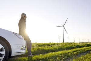 Scenery, Woman, Car, Wind Turbines, Wind Power Station by Axel Schmies