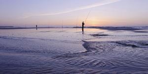 Surf Angler on the Beach, Evening Mood, Praia D'El Rey by Axel Schmies