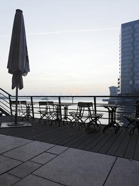 Terrace at the Elbufer, Fog in the Harbour, Holzhafen, Hanseatic City of Hamburg, Germany by Axel Schmies