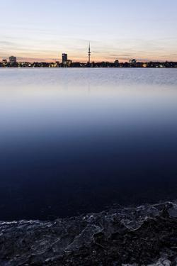 The Outer Alster Lake, Schwanenwik, Dusk, Skyline, Panorama, Hanseatic City of Hamburg, Germany by Axel Schmies